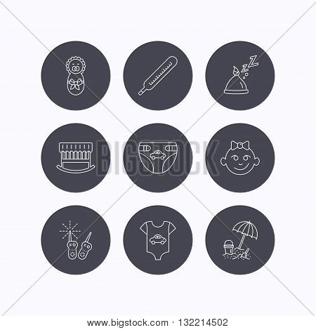 Newborn clothes, diapers and sleep hat icons. Thermometer, baby girl and cradle linear signs. Beach games, monitoring flat line icons. Flat icons in circle buttons on white background. Vector