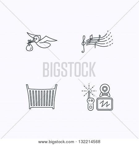 Baby monitor, crib bed and songs for kids icons. Stork and sack linear sign. Flat linear icons on white background. Vector