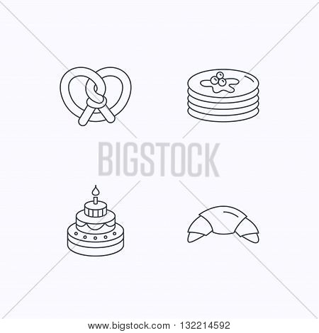 Croissant, pretzel and pancakes icons. Sweet cake linear sign. Flat linear icons on white background. Vector