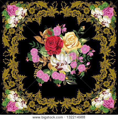 illustration with gold decorated frame with roses