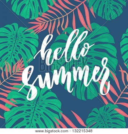 Hello summer tropic background of palm leaves, tropical palm leaves background, summer background