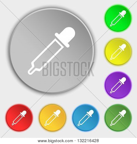 Pipette Icon Sign. Symbol On Eight Flat Buttons. Vector