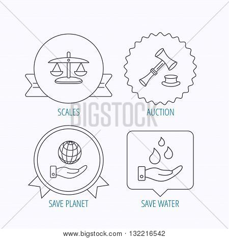 Save nature, auction and scales of justice icons. Save planet linear sign. Award medal, star label and speech bubble designs. Vector