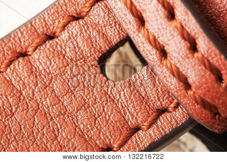 Detail of brown leather buckle with space for your text
