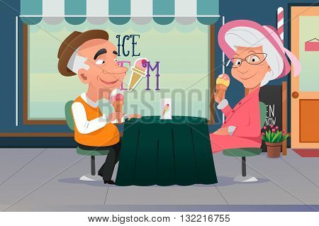 A vector illustration of old grandpa and grandma eating ice cream together