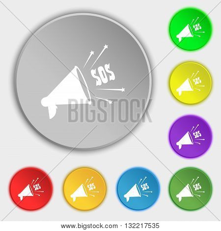 sos web speaker icon sign. Symbol on eight flat buttons. Vector illustration