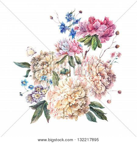 Gentle Decoration Vintage Floral Greeting Card with Blooming White Peonies and Wild Flowers Watercolor Botanical Natural Peonies Illustration isolated on white.