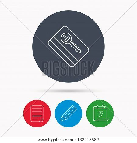 Electronic key icon. Hotel room card sign. Unlock chip symbol. Calendar, pencil or edit and document file signs. Vector