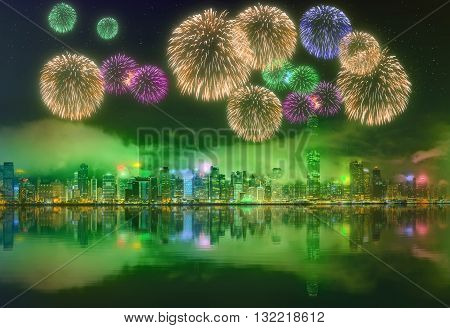 Beautiful fireworks in Hong Kong island, skyline and Financial district, China