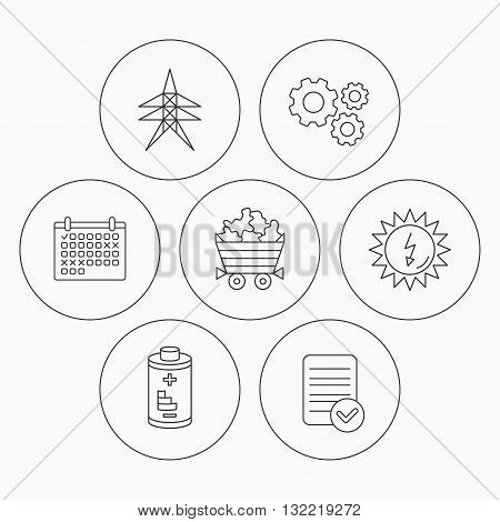 Solar energy, battery and minerals icons. Electricity station linear sign. Check file, calendar and cogwheel icons. Vector