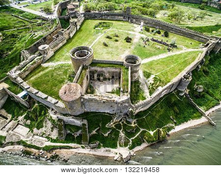 Old fortress in Belgorod-Dniester, Ukraine, aerial photo