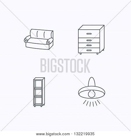 Sofa, ceiling lamp and shelving icons. Chest of drawers linear sign. Flat linear icons on white background. Vector