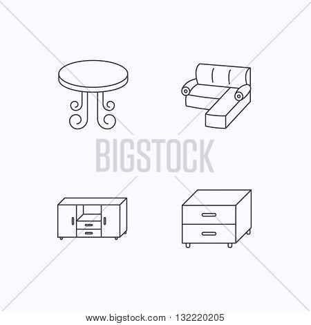 Corner sofa, table and nightstand icons. Chest of drawers linear sign. Flat linear icons on white background. Vector