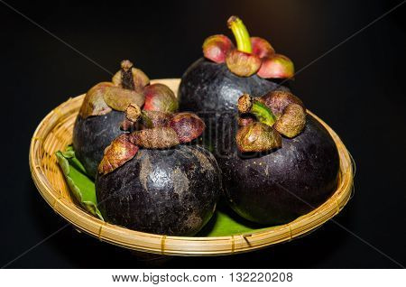 Mangosteen (Garcinia mangostana Linn) have purple skin and white flesh is most popular and has been dubbed the Queen of Fruits. Delicious mangosteen fruit arranged on a basket Mangosteen flesh is fruit seasonal of Thailand.