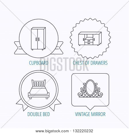 Double bed, vintage mirror and cupboard icons. Chest of drawers linear sign. Award medal, star label and speech bubble designs. Vector