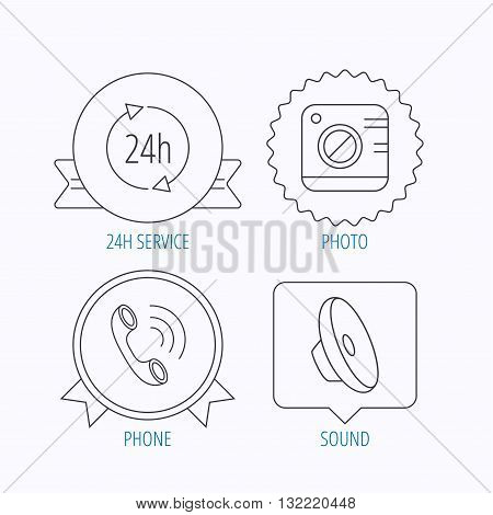 Phone call, 24h service and sound icons. Photo camera linear sign. Award medal, star label and speech bubble designs. Vector