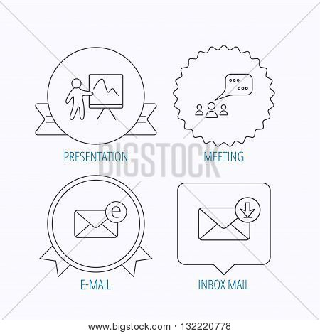 Mail, presentation and meeting chat bubbles icons. E-mail linear sign. Award medal, star label and speech bubble designs. Vector