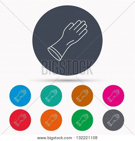 Rubber gloves icon. Latex hand protection sign. Housework cleaning equipment symbol. Icons in colour circle buttons. Vector