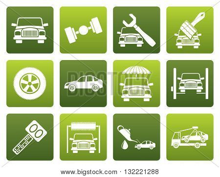 Flat auto service and transportation icons - vector icon set