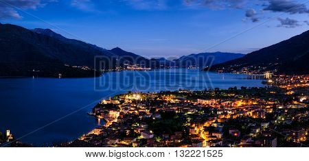 Lago di Como (Lake Como) high definition panorama from Peglio at blue hour