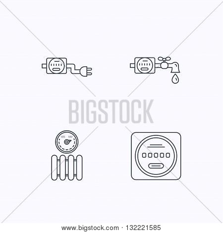Electricity, radiator and water counter icons. Counter linear sign. Flat linear icons on white background. Vector