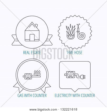 Real estate, fire hose and gas counter icons. Electricity counter linear sign. Award medal, star label and speech bubble designs. Vector