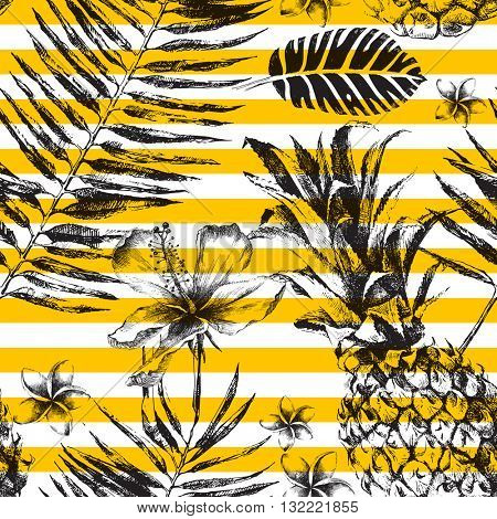 Hand drawn Seamless pattern with Tropical Palm Leaves, Flowers and Pineapples