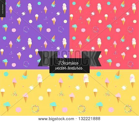 Three Ice cream seamless patterns - violet, red and yellow seamless patterns on ice cream topic - flat cartoon illustrated waffle cones, scoops, and sprinkles, with flat stylized ribbon with a title