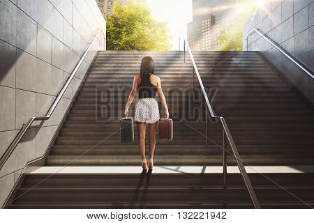 Woman with suitcase climbing a staircase in town . 3D Rendering