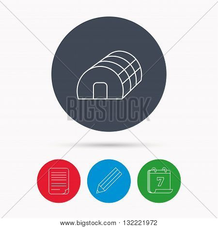 Greenhouse complex icon. Hothouse building sign. Warm house symbol. Calendar, pencil or edit and document file signs. Vector
