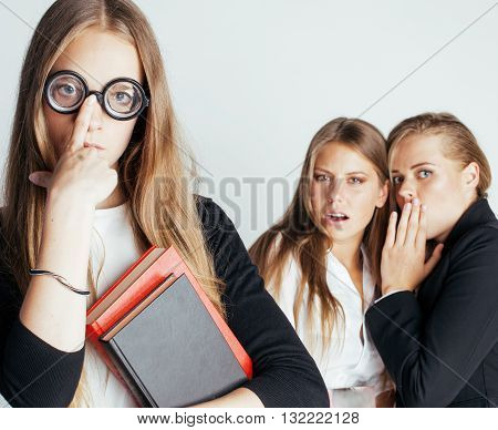 new student bookwarm in glasses against casual group on white, teen drama, lifestyle people concept