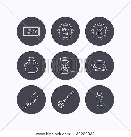 Coffee cup, butcher knife and wineglass icons. Meat grinder, whisk and vase linear signs. Heat-resistant, DEHP and BPA free icons. Flat icons in circle buttons on white background. Vector