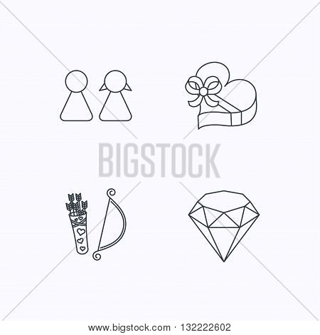 Couple, brilliant and engagement gift box icons. Valentine amour arrows linear signs. Flat linear icons on white background. Vector
