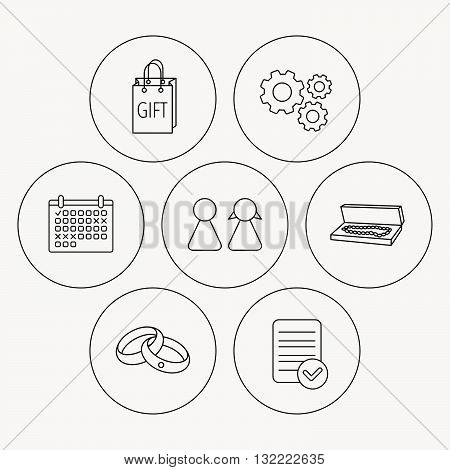 Couple, gift and wedding rings icons. Box with jewelry linear sign. Check file, calendar and cogwheel icons. Vector