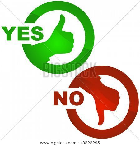 Buttons with yes and no.