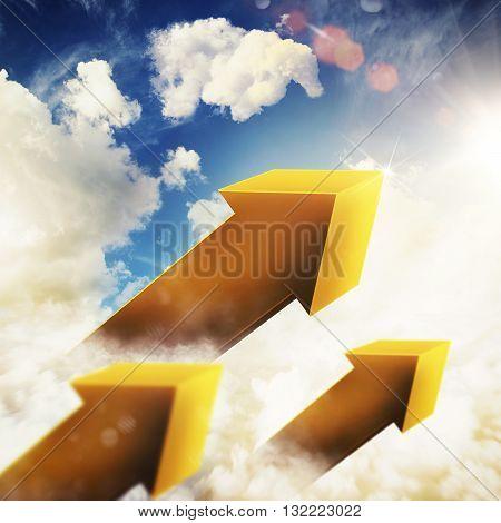 3D Rendering yellow arrow in the sky