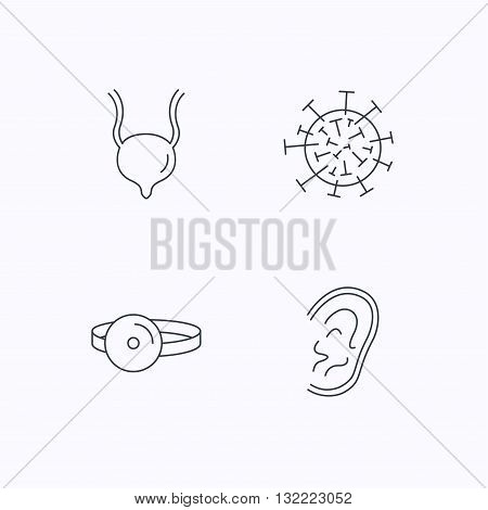 Virus, urinary bladder and ear icons. Medical mirror linear signs. Flat linear icons on white background. Vector