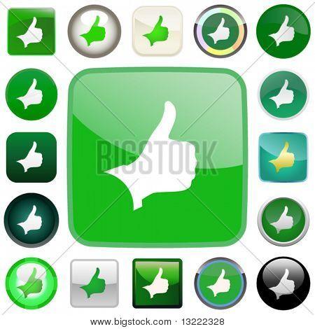 Pulgar hacia arriba. Conjunto de iconos de diseño.