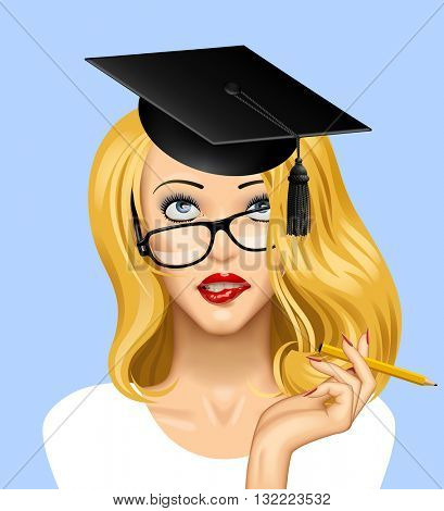 Face of a pretty blonde girl in glasses looking up with a graduate cap on her head. Education concept illustration. Vector illustration