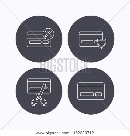 Bank credit card icons. Banking, protection and expired debit card linear signs. Flat icons in circle buttons on white background. Vector
