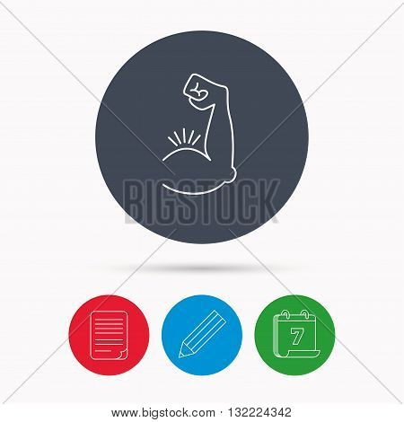 Biceps muscle icon. Bodybuilder strong arm sign. Weightlifting fitness symbol. Calendar, pencil or edit and document file signs. Vector