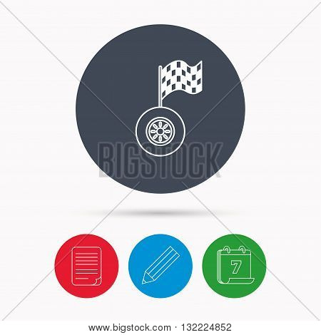 Race icon. Wheel with racing flag sign. Calendar, pencil or edit and document file signs. Vector