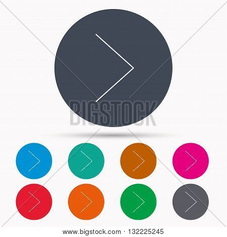 Right arrow icon. Next sign. Forward direction symbol. Icons in colour circle buttons. Vector