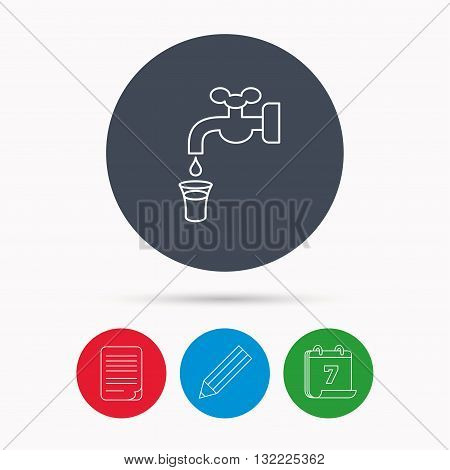 Save water icon. Crane or Faucet with drop sign. Calendar, pencil or edit and document file signs. Vector