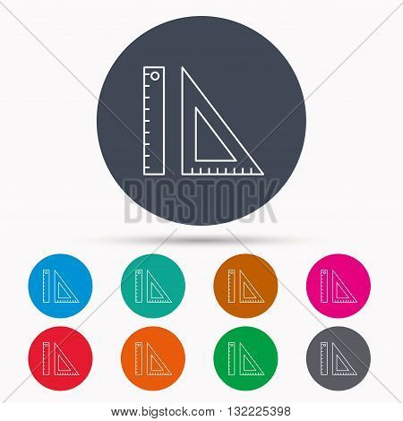 Triangular ruler icon. Geometric school supplies symbol. Icons in colour circle buttons. Vector