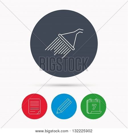 Shower icon. Washing equipment sign. Calendar, pencil or edit and document file signs. Vector
