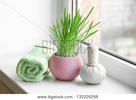 Spa composition on windowsill closeup