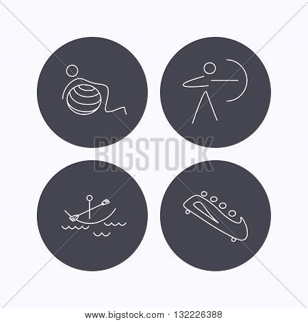 Gymnastics, boating and archery icons. Bobsled linear sign. Flat icons in circle buttons on white background. Vector