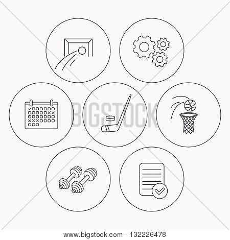 Football, ice hockey and fitness sport icons. Basketball linear sign. Check file, calendar and cogwheel icons. Vector