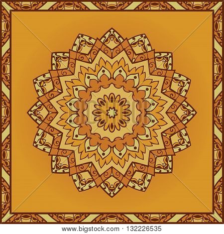 Oriental yellow pattern of mandala. Vector orange background. Template for textile carpet coverlet shawls.